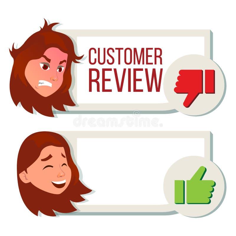 De Vector van het klantenoverzicht Positief, Negatief Overzicht Huldeblijkenberichten r E stock illustratie
