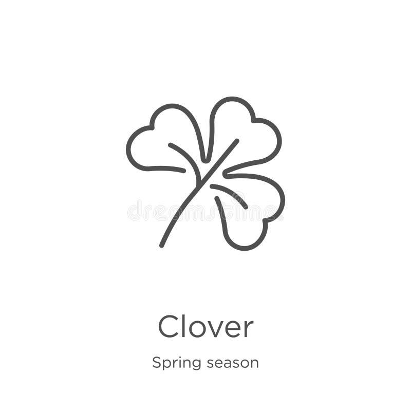 de vector van het klaverpictogram van lentetijdinzameling De dunne van het het overzichtspictogram van de lijnklaver vectorillust stock illustratie