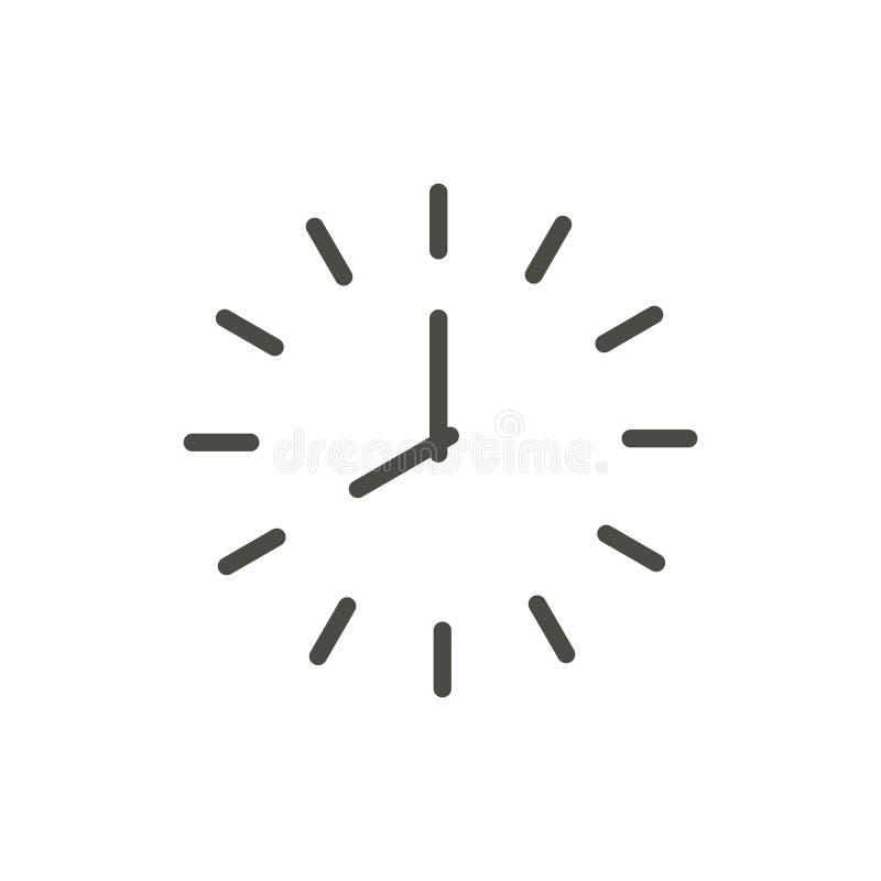 De Vector van het klokpictogram Het symbool van de lijntijd royalty-vrije illustratie