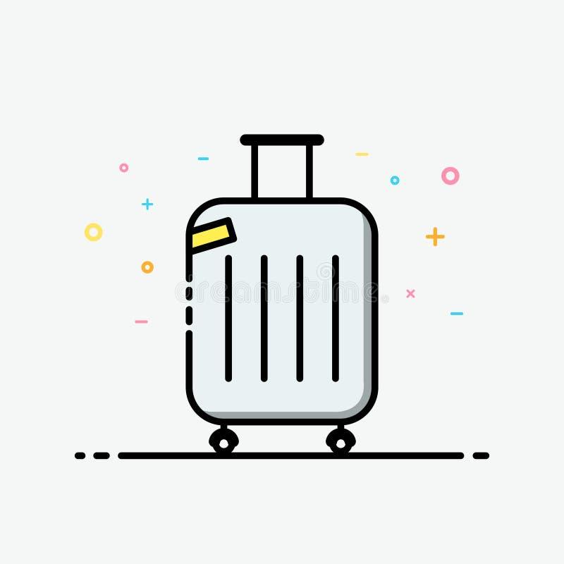 De vector van het kofferpictogram Reiszak in gevulde overzichtsstijl voor de zomeraffiche en sociale media banner vector illustratie