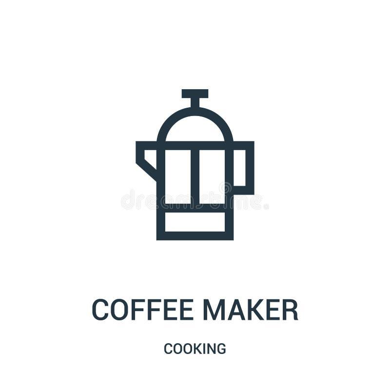 de vector van het koffiezetapparaatpictogram van het koken inzameling De dunne van het het overzichtspictogram van het lijnkoffie royalty-vrije illustratie