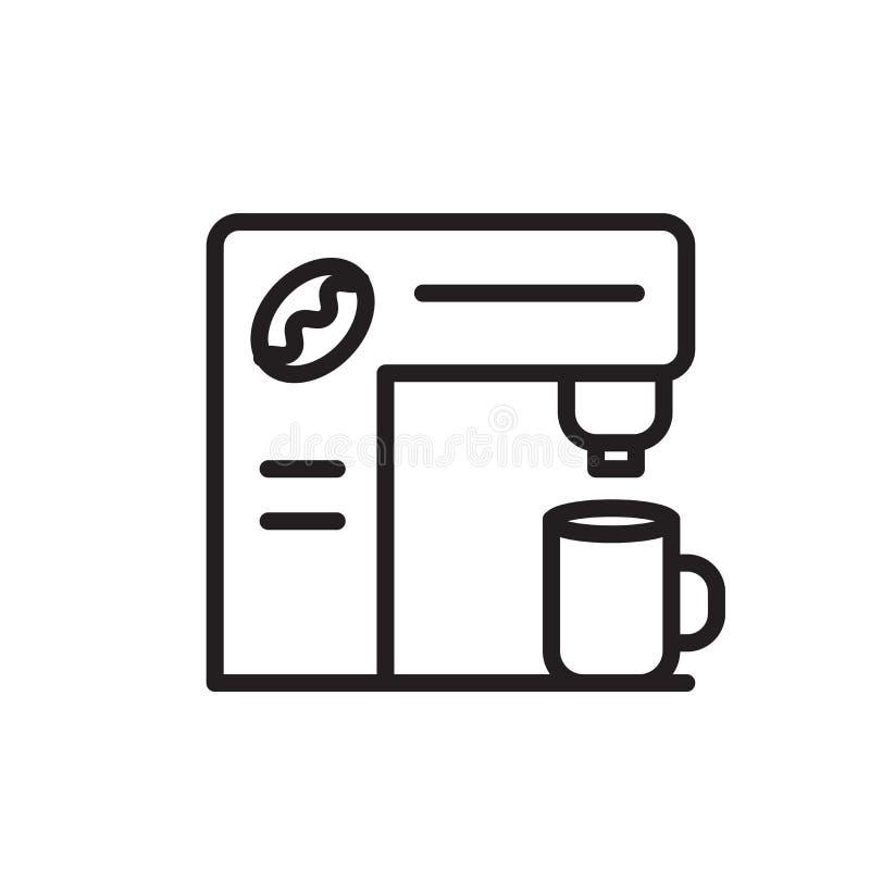 De vector van het koffiezetapparaatpictogram op witte achtergrond, koffiezetapparaatteken, de lineaire symbool en elementen van h royalty-vrije illustratie