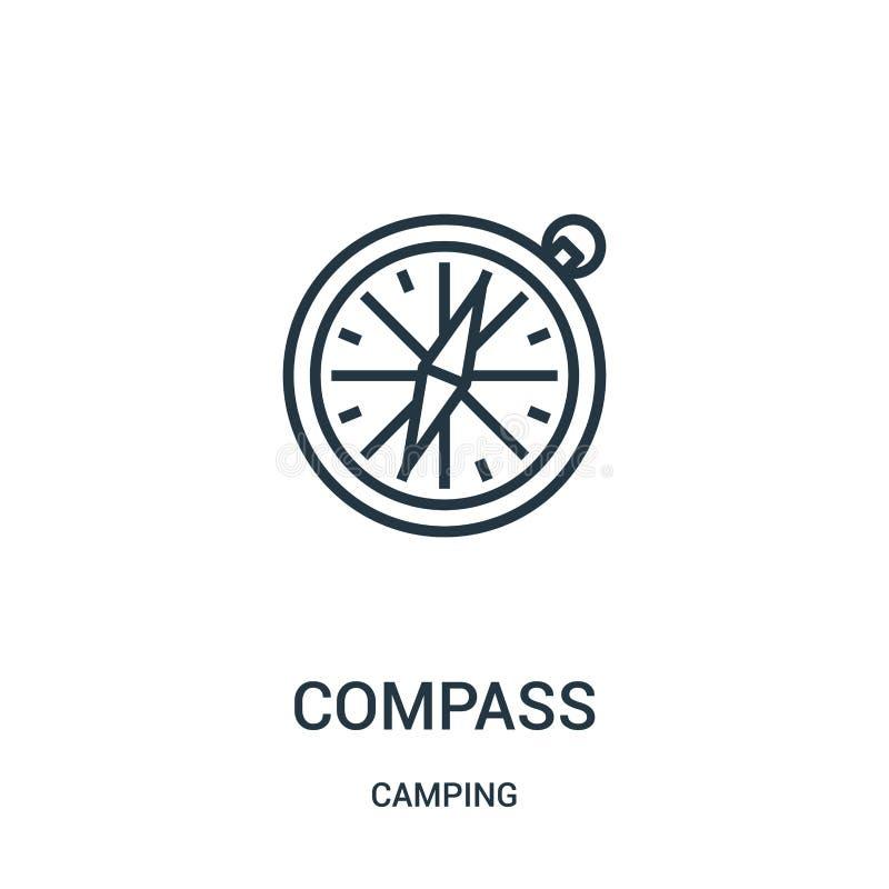 de vector van het kompaspictogram van het kamperen inzameling De dunne van het het overzichtspictogram van het lijnkompas vectori royalty-vrije illustratie