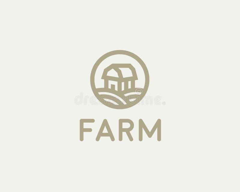 De vector van het landbouwbedrijfhuis logotype Het natuurlijke symbool van het biologische productenembleem vector illustratie