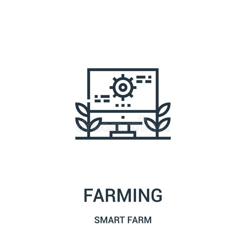 de vector van het de landbouwpictogram van slimme landbouwbedrijfinzameling Dunne lijn het pictogram vectorillustratie van het de vector illustratie