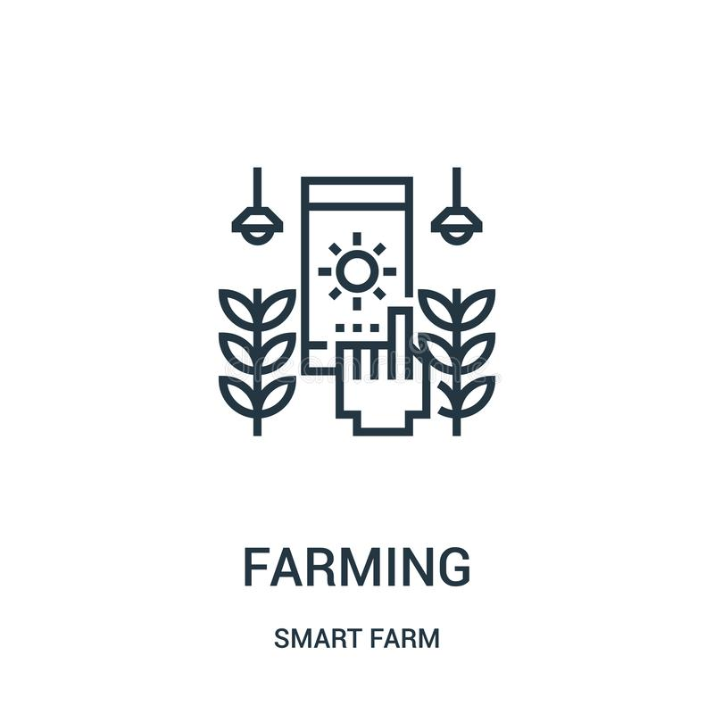 de vector van het de landbouwpictogram van slimme landbouwbedrijfinzameling Dunne lijn het pictogram vectorillustratie van het de stock illustratie