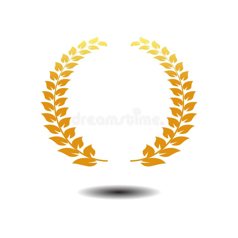 De Vector van het lauwerkranspictogram Gouden symboolpictogram op witte achtergrond stock illustratie