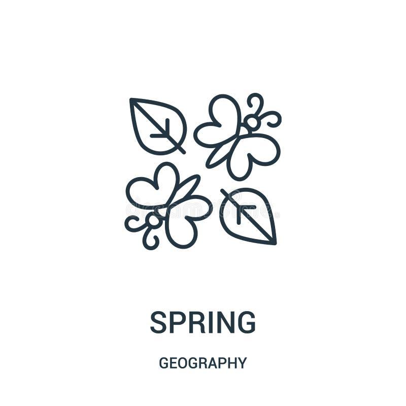 de vector van het de lentepictogram van aardrijkskundeinzameling De dunne van het het overzichtspictogram van de lijnlente vector vector illustratie