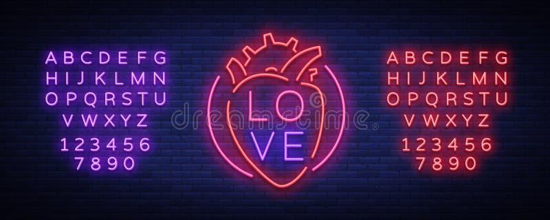De vector van het liefdesymbool Neonteken op het thema van de Dag van Valentine s Vlammende banner voor groeten, pamflet, vlieger stock illustratie