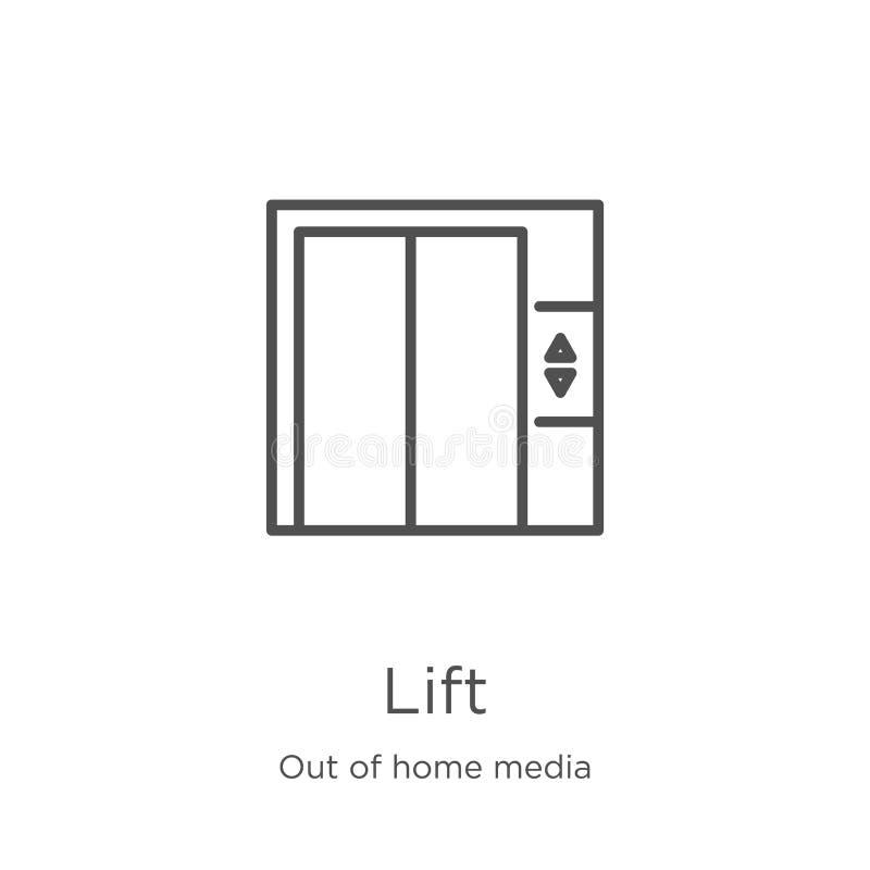 de vector van het liftpictogram van uit huismedia inzameling De dunne van het het overzichtspictogram van de lijnlift vectorillus royalty-vrije illustratie