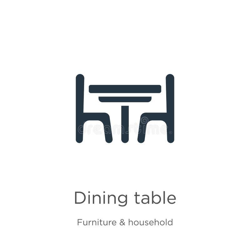De vector van het lijstpictogram Trendy flat dining table icon van meubilair en huisinzameling geïsoleerd op witte achtergrond royalty-vrije illustratie