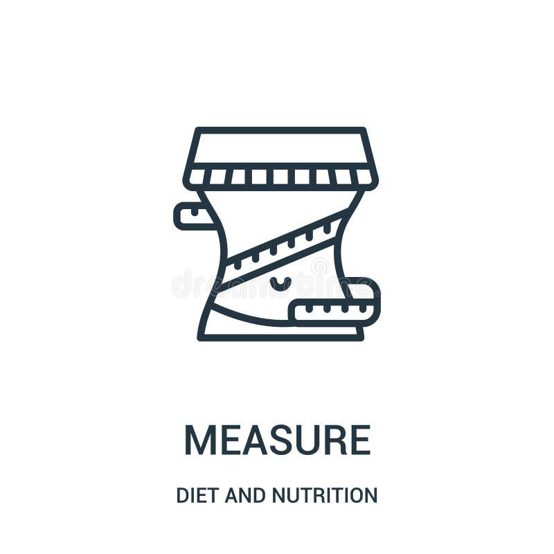 de vector van het maatregelenpictogram van dieet en voedingsinzameling De dunne van het het overzichtspictogram van de lijnmaatre stock illustratie