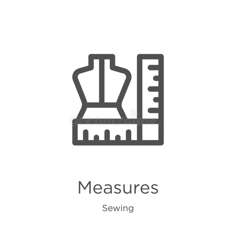 de vector van het maatregelenpictogram van het naaien inzameling De dunne van het het overzichtspictogram van lijnmaatregelen vec royalty-vrije illustratie
