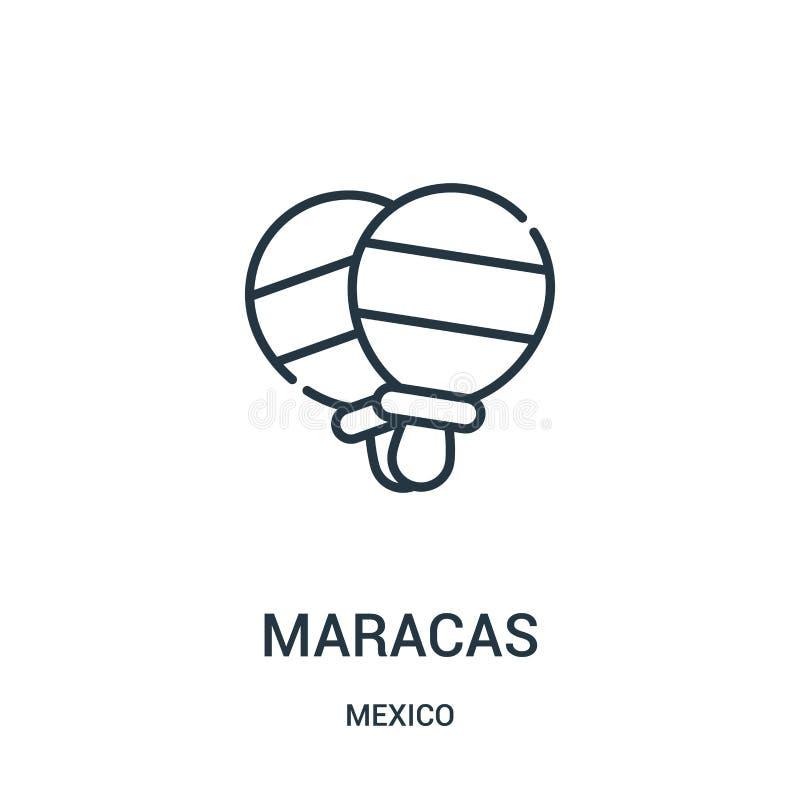 de vector van het maracaspictogram van de inzameling van Mexico De dunne van het het overzichtspictogram van lijnmaracas vectoril vector illustratie