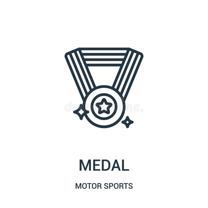 de vector van het medaillepictogram van de inzameling van motorsporten De dunne van het het overzichtspictogram van de lijnmedail vector illustratie
