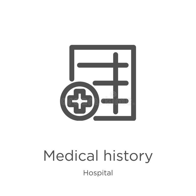 de vector van het medische geschiedenispictogram van het ziekenhuisinzameling De dunne van het het overzichtspictogram van de lij vector illustratie