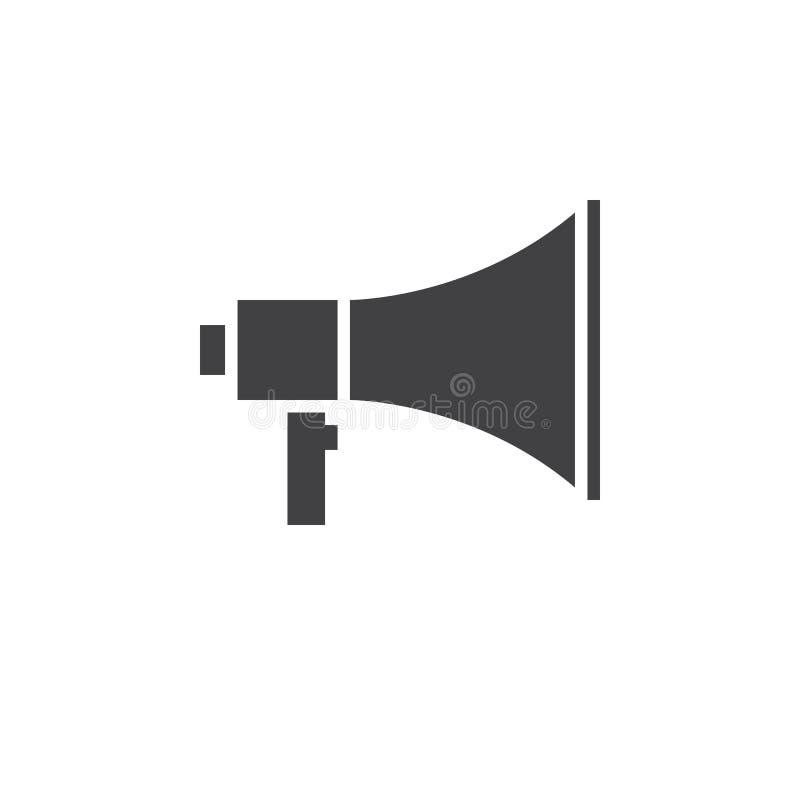 De vector van het megafoonpictogram, megafoon stevig embleem, geïsoleerd pictogram royalty-vrije illustratie