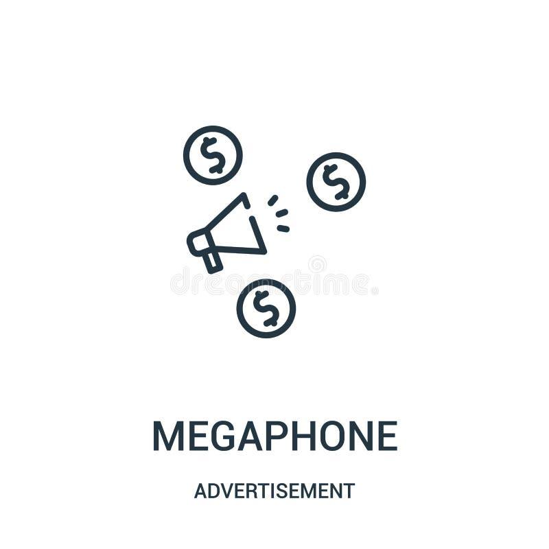 de vector van het megafoonpictogram van reclameinzameling De dunne van het het overzichtspictogram van de lijnmegafoon vectorillu vector illustratie