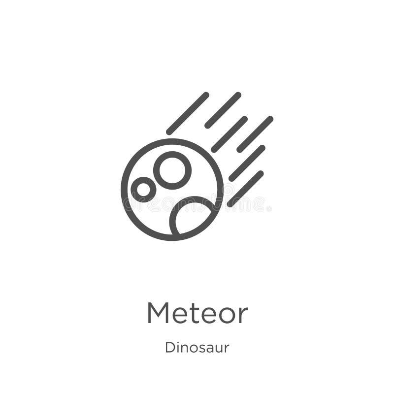 de vector van het meteoorpictogram van dinosaurusinzameling De dunne van het het overzichtspictogram van de lijnmeteoor vectorill vector illustratie