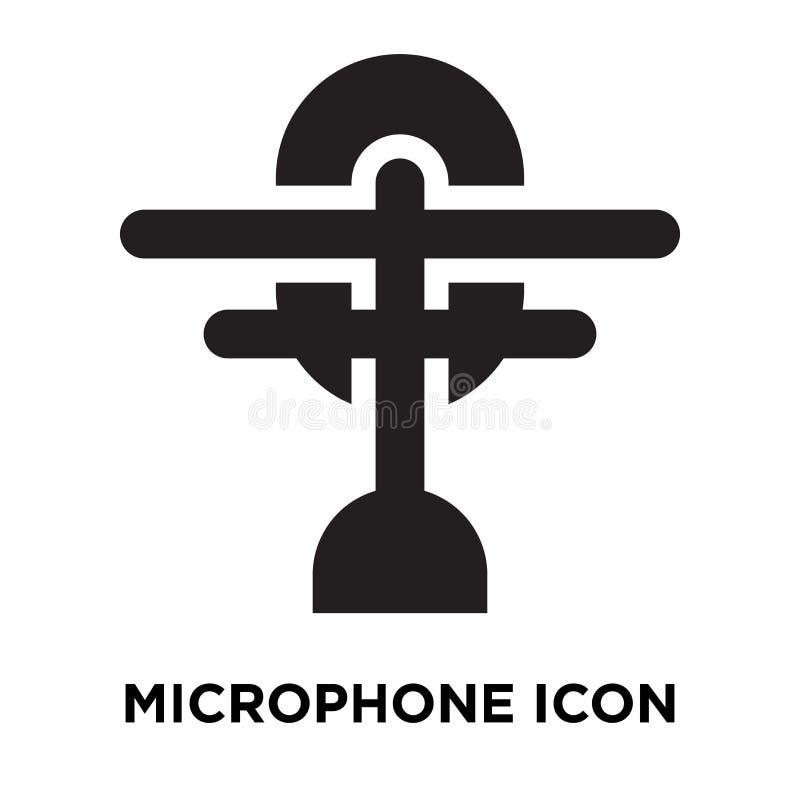 De vector van het microfoonpictogram op witte achtergrond, embleem wordt geïsoleerd dat concep stock illustratie
