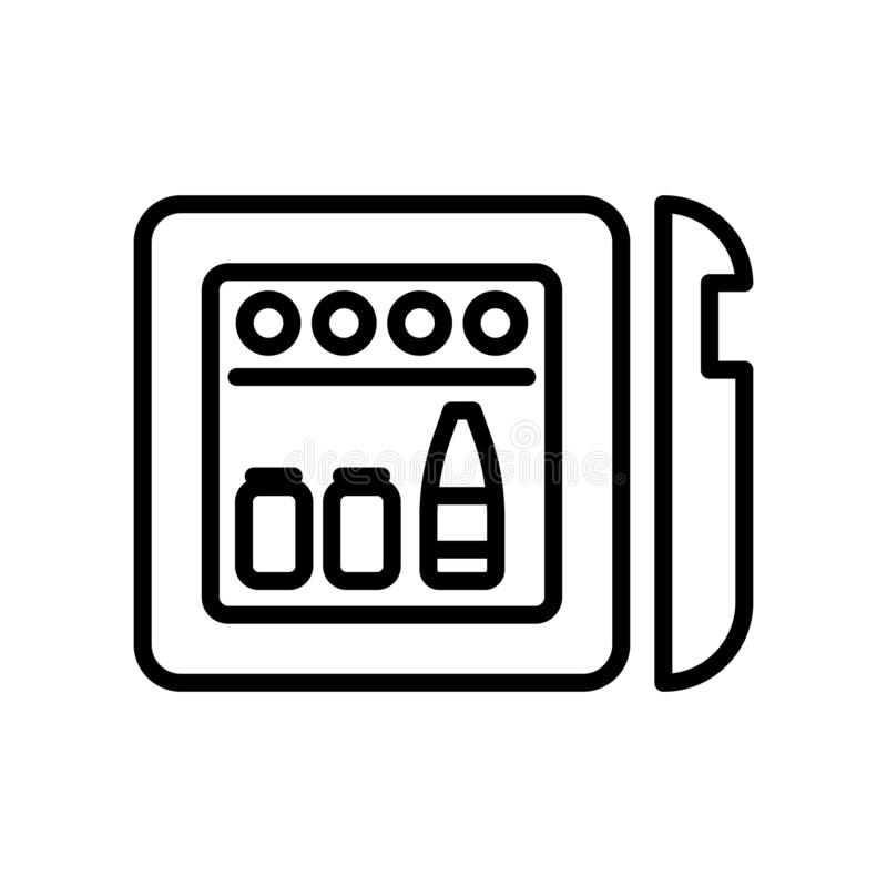 De vector van het Minibarpictogram op witte elementen als achtergrond, Minibar-teken, lijn en overzichts in lineaire stijl wordt  royalty-vrije illustratie