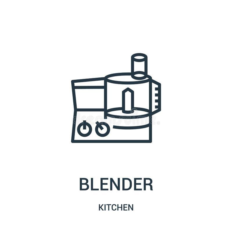 de vector van het mixerpictogram van keukeninzameling De dunne van het het overzichtspictogram van de lijnmixer vectorillustratie stock illustratie