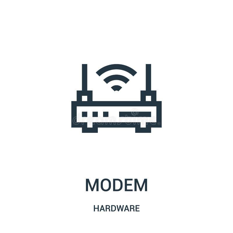 de vector van het modempictogram van hardwareinzameling De dunne van het het overzichtspictogram van de lijnmodem vectorillustrat stock illustratie