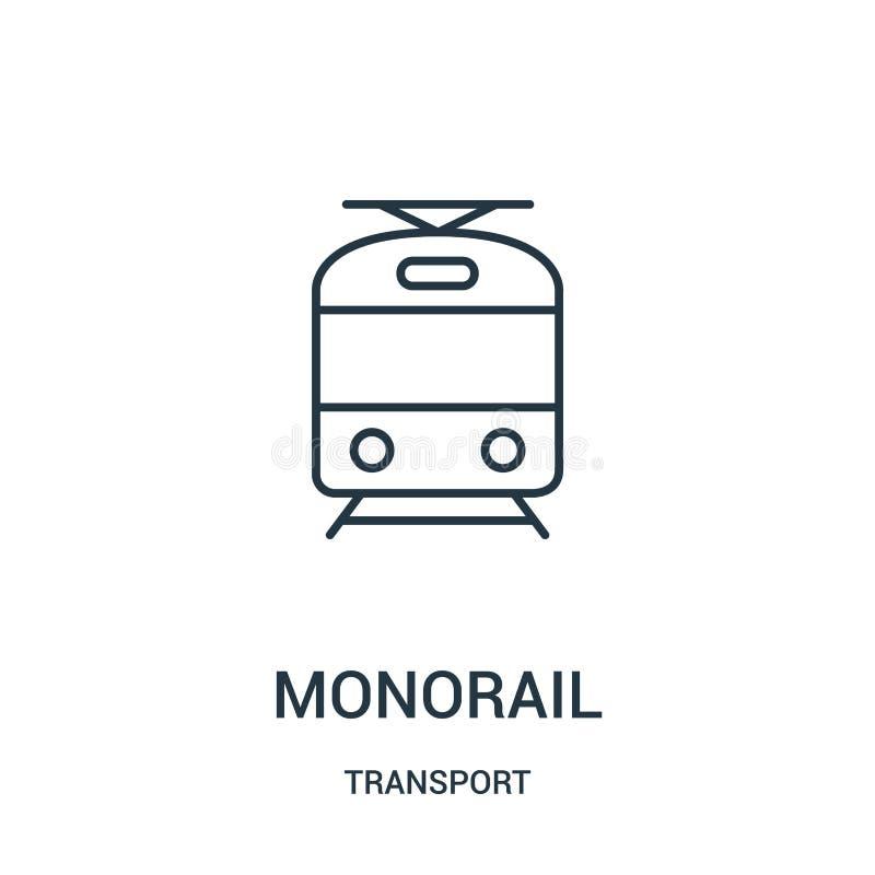 de vector van het monorailpictogram van vervoerinzameling De dunne van het het overzichtspictogram van de lijnmonorail vectorillu vector illustratie