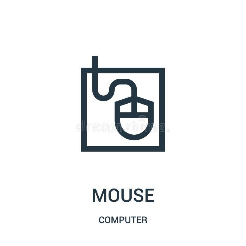 de vector van het muispictogram van computerinzameling De dunne van het het overzichtspictogram van de lijnmuis vectorillustratie vector illustratie