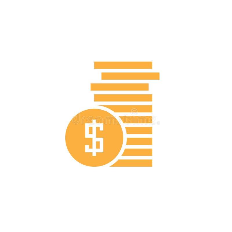 De vector van het muntstukkenpictogram, geld stevig die embleem, pictogram op wit wordt geïsoleerd stock illustratie