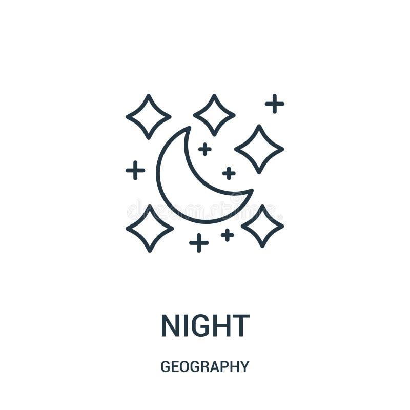de vector van het nachtpictogram van aardrijkskundeinzameling De dunne van het het overzichtspictogram van de lijnnacht vectorill royalty-vrije illustratie