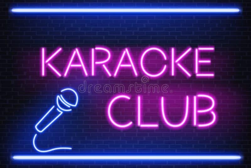 De vector van het het neonlichtuithangbord van de karaokenachtclub vector illustratie