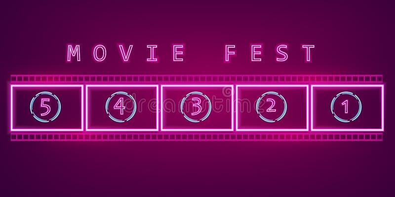 De Vector van het het neonteken van de filmfilm Gloeiende aanplakbord donkere achtergrond De symbolen van het de bioskoopfestival royalty-vrije illustratie