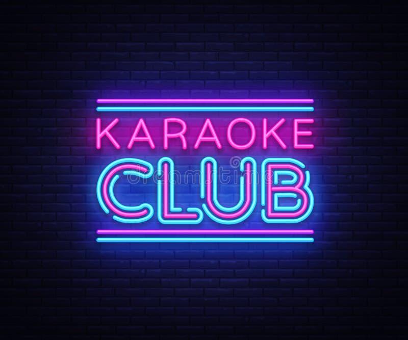 De vector van het het neonteken van de karaokeclub Het teken van het het malplaatjeneon van het karaokeontwerp, lichte banner, ne vector illustratie