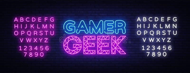 De Vector van de het Neontekst van Gamergeek Het teken van het gokkenneon, ontwerpsjabloon, modern tendensontwerp, nachtuithangbo royalty-vrije illustratie
