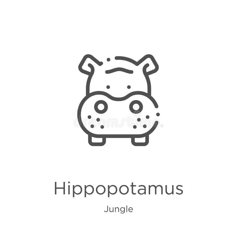 de vector van het nijlpaardpictogram van wildernisinzameling De dunne van het het overzichtspictogram van het lijnnijlpaard vecto royalty-vrije illustratie