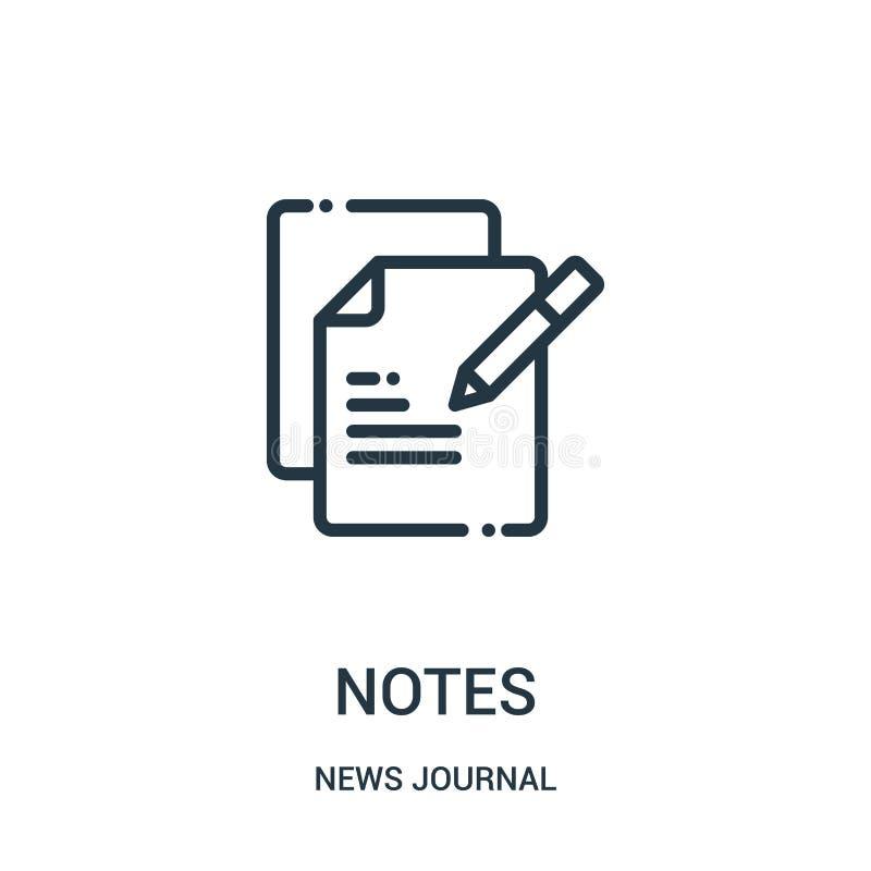 de vector van het nota'spictogram van de inzameling van het nieuwsdagboek De dunne van het het overzichtspictogram van lijnnota's vector illustratie