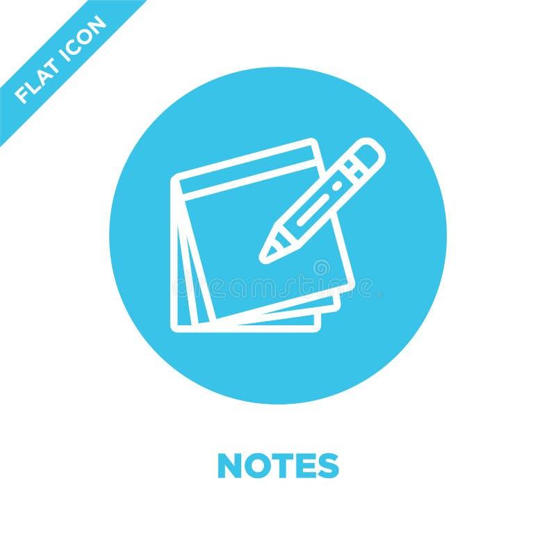 de vector van het nota'spictogram van kantoorbehoefteninzameling De dunne van het het overzichtspictogram van lijnnota's vectoril vector illustratie