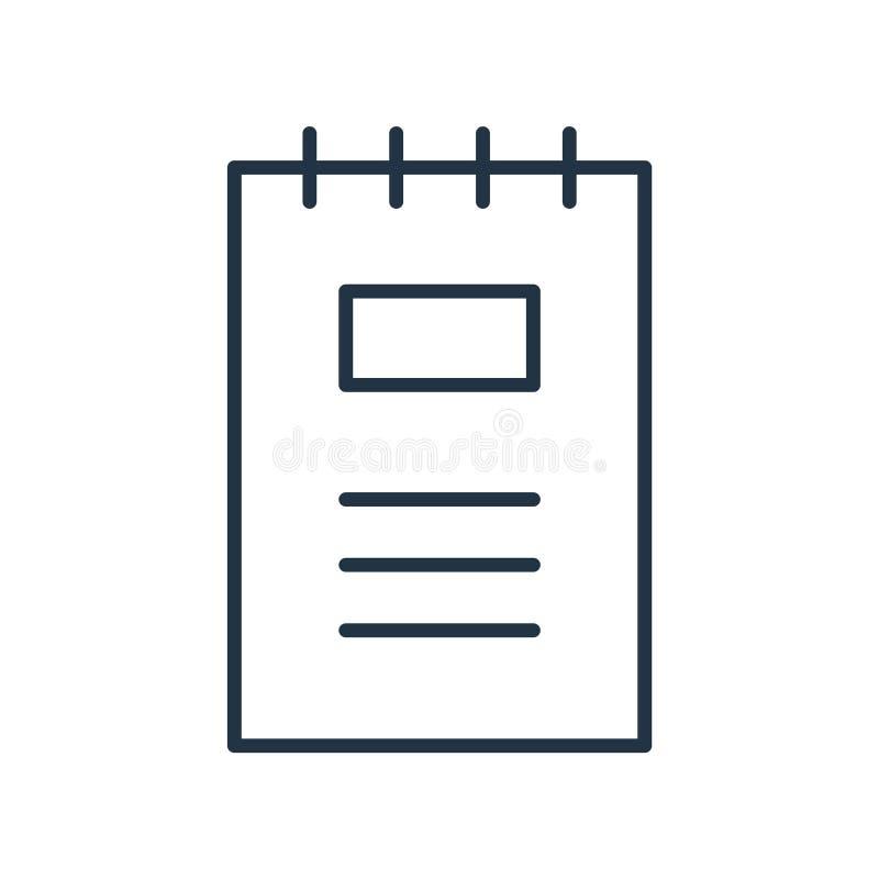 De vector van het notitieboekjepictogram op witte achtergrond, Notitieboekjeteken wordt geïsoleerd dat stock illustratie