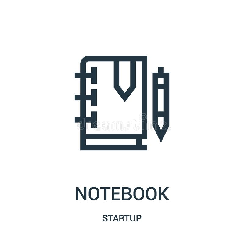 de vector van het notitieboekjepictogram van startinzameling De dunne van het het overzichtspictogram van het lijnnotitieboekje v royalty-vrije illustratie