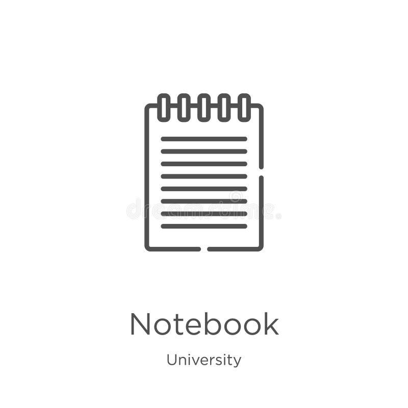 de vector van het notitieboekjepictogram van universitaire inzameling De dunne van het het overzichtspictogram van het lijnnotiti stock illustratie
