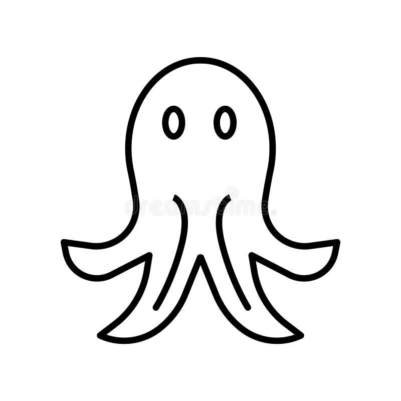 De vector van het octopuspictogram op witte achtergrond, Octopusteken, de dunne elementen van het lijnontwerp in overzichtsstijl  vector illustratie