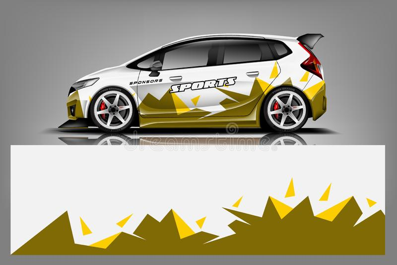 De vector van het de omslagontwerp van het sportwagenoverdrukplaatje Grafische abstracte streep het rennen achtergronduitrustings stock illustratie