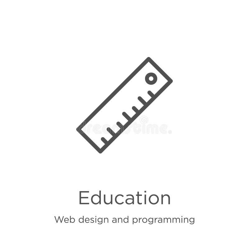 de vector van het onderwijspictogram van Webontwerp en programmeringsinzameling De dunne van het het overzichtspictogram van het  vector illustratie