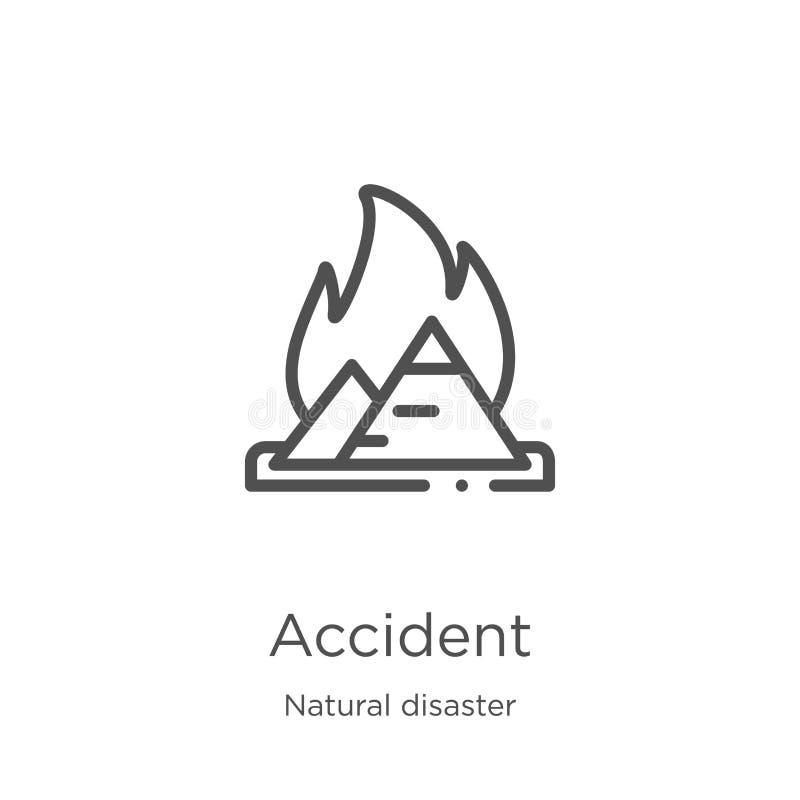 de vector van het ongevallenpictogram van natuurrampeninzameling De dunne van het het overzichtspictogram van het lijnongeval vec royalty-vrije illustratie