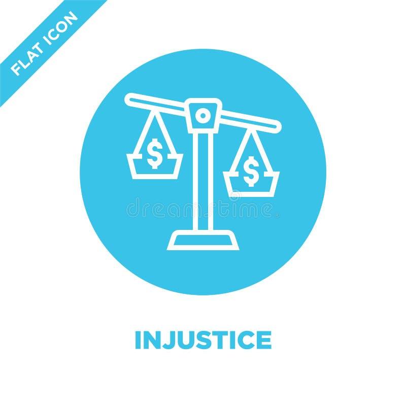 de vector van het onrechtvaardigheidspictogram van de inzameling van corruptieelementen De dunne van het het overzichtspictogram  vector illustratie