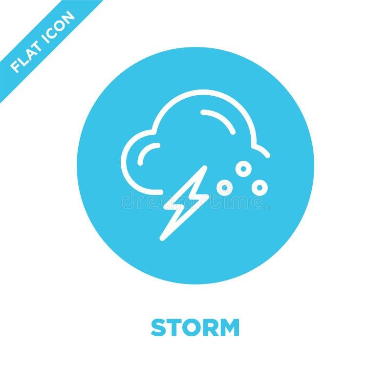de vector van het onweerspictogram van weerinzameling De dunne van het het overzichtspictogram van het lijnonweer vectorillustrat vector illustratie