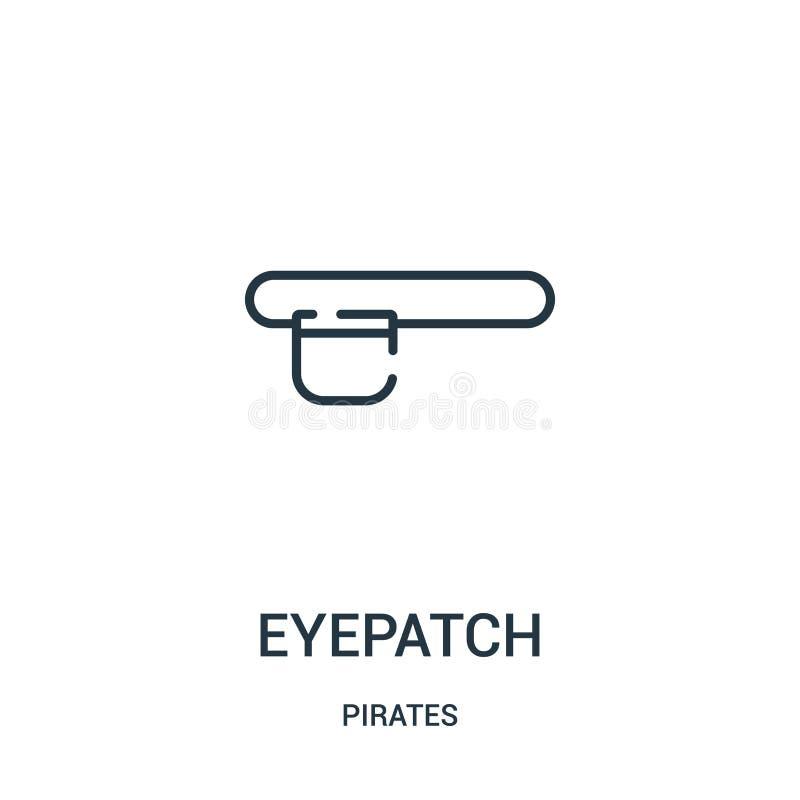 de vector van het ooglappictogram van pirateninzameling De dunne van het het overzichtspictogram van de lijnooglap vectorillustra stock illustratie