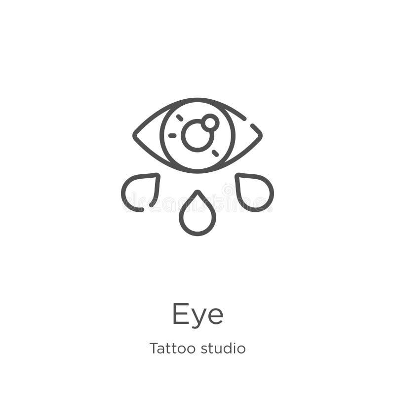 de vector van het oogpictogram van de inzameling van de tatoegeringsstudio De dunne van het het overzichtspictogram van het lijno stock illustratie