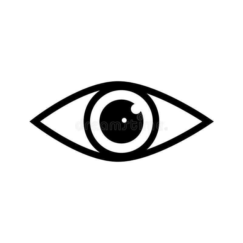 De vector van het oogpictogram met dubbele bezinning in leerling Het teken van mening, ziet, blik, glimp, dekko, eyebeam, advies, royalty-vrije illustratie